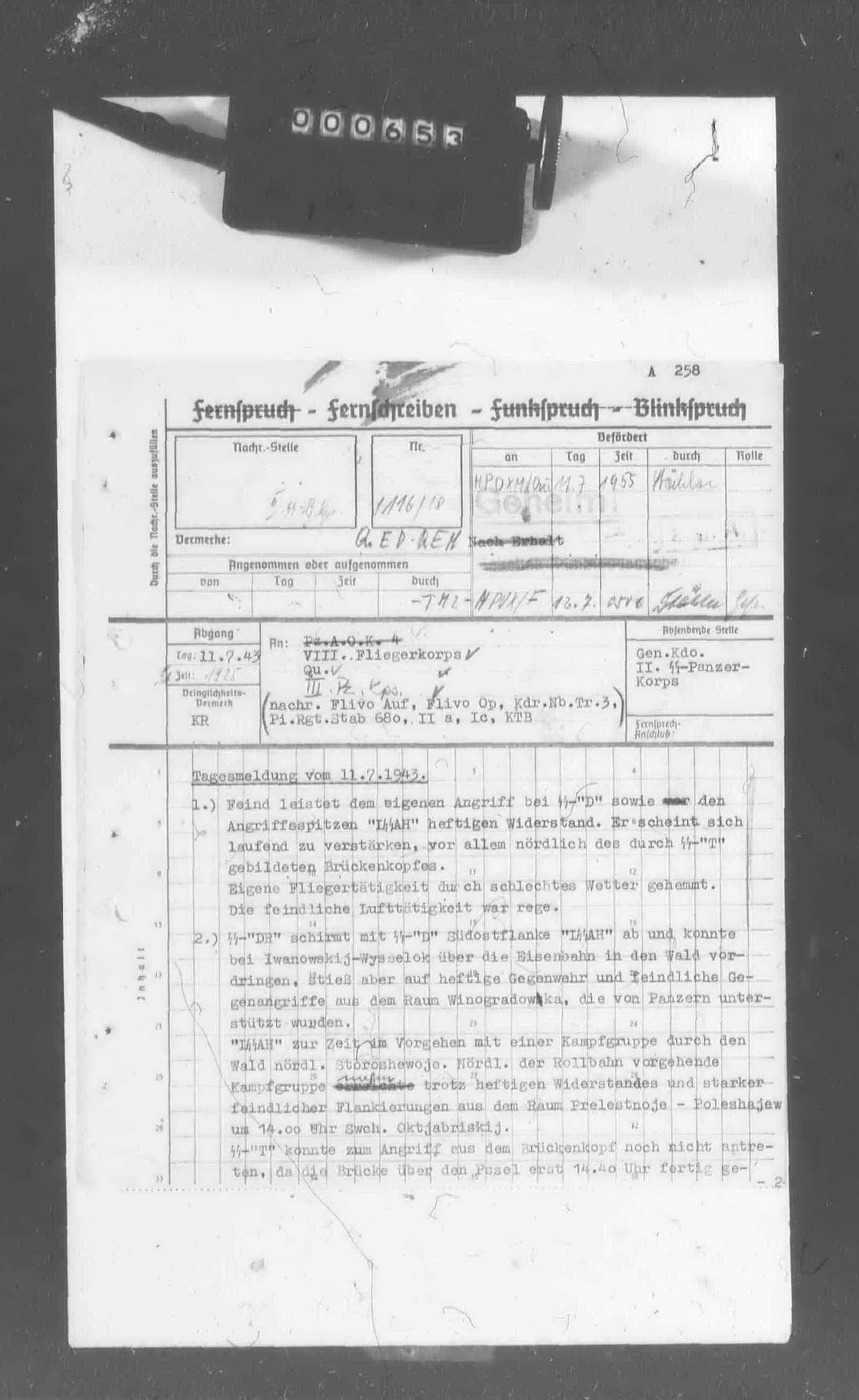 II. SS-Panzerkorps: Tagesmeldung vom 11.7.1943 - Page 1